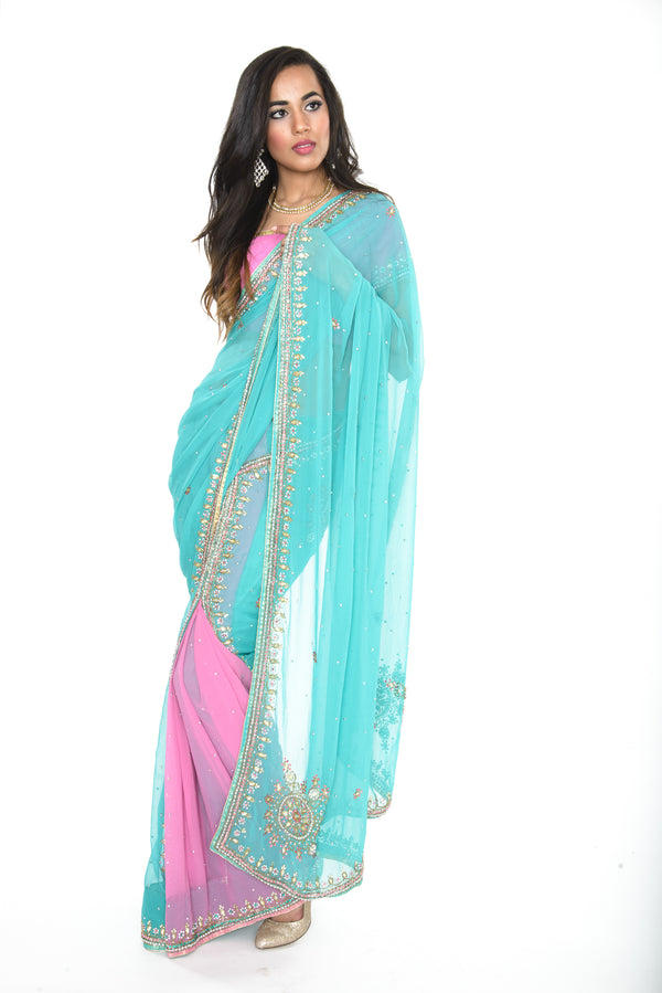Cotton Candy Pink & Teal Ready-Made Pre-Pleated Sari