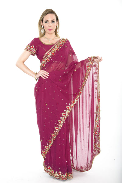 Gorgeous Deep Pink Pre-Stitched Ready-made Sari