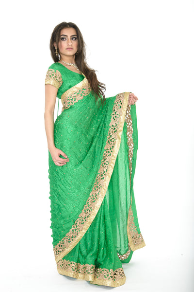 Majestic Beauty in Green and Gold Pre-Stitched Ready-made Sari
