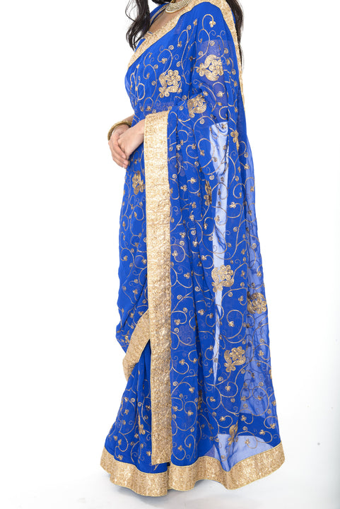 Gorgeous Royal Blue Pre-Stitched Sari