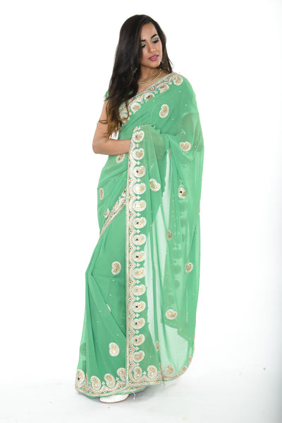 Gorgeous Green and Gold Pre-Stitched Ready-made Sari