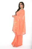 Elegant Soft Coral Pre-Stitched Ready-made Sari