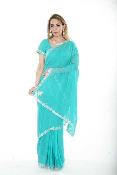 Stunning Sky Blue Ready-made Pre-Stiched Sari