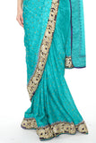 Classic Teal Pre-Stitched Ready-made Sari
