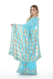 Ritzy Sky Blue Ready-made Pre-Stiched Sari