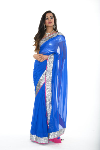 Sizzling Royal Blue Pre-Stitched Sari