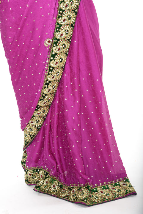 Ravishing Magenta Pre-pleated Sari