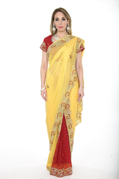 Elegant Yellow and Red Ready-made Pre-Stiched Sari