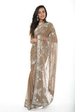 Gorgeous Tan and Sliver Ready-made Pre-Stiched Sari