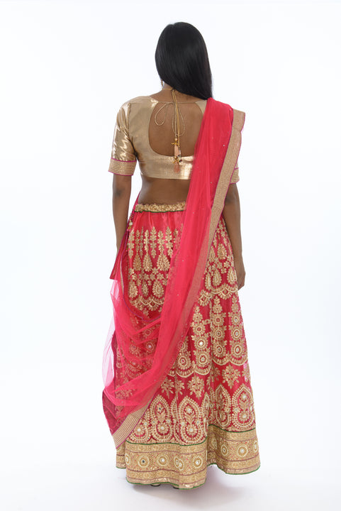 Golden Bollywood Cerise Lehenga