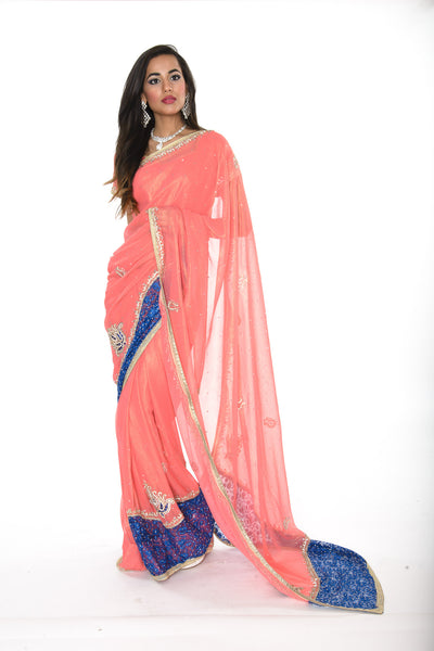 Elegant Coral and Blue Pre-Stitched Ready-made Sari