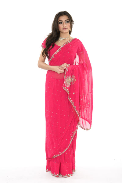 Spicy Hot Pink Pre-Stitched Ready-made Sari
