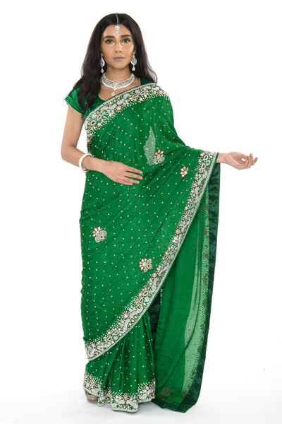 Gorgeous Green Pre-Stitched Ready-made Sari