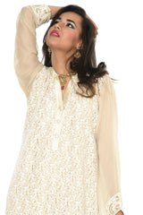 Gorgeous Tan Long Kurti Salwar Kameez (Size M/L)