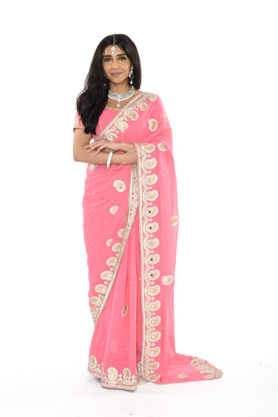 Gorgeous Pink Pre-Stitched Ready-made Sari with Golden Border
