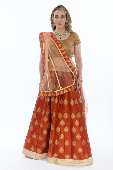 Glossy Ginger and Bronze Lehenga