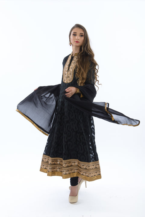 Exquisite Black and Gold Anarkali Gown Anarkali Gown