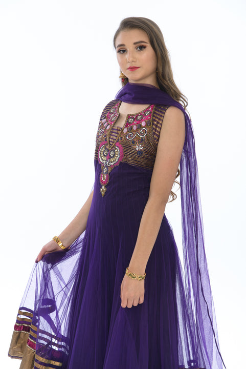 Charming Electric Purple Indo-Western Anarkali Gown