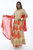 Ravishing Pearl and Orange Indo-Western Anarkali Gown
