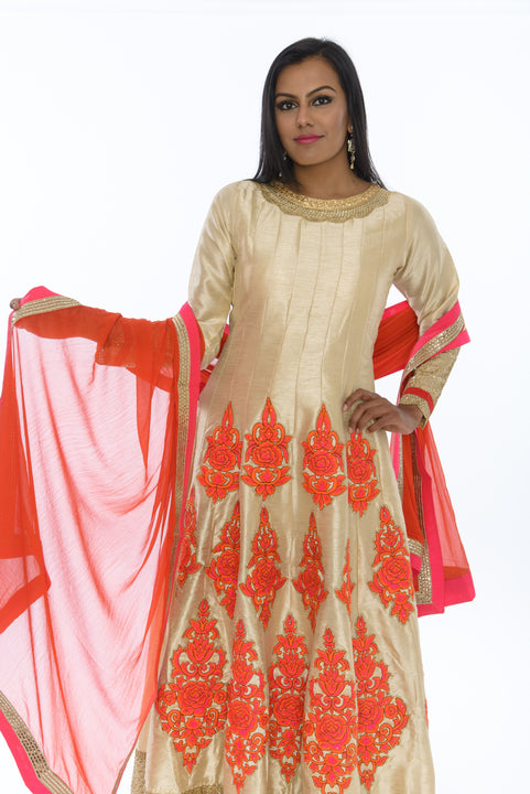 Ravishing Cream and Orange Silk Long Anarkali (Size 40)