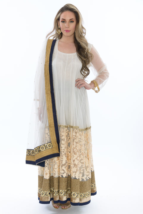 Angelic Alabaster Long Indo-Western Anarkali Gown