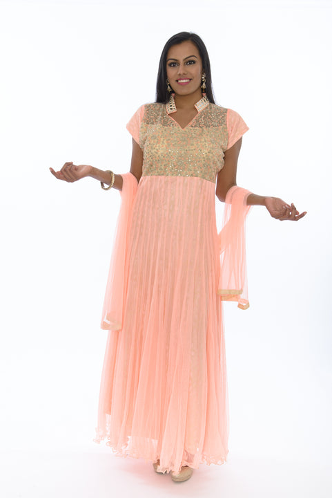 Sweet Pink Lily Indo-Western Long Anarkali  Gown