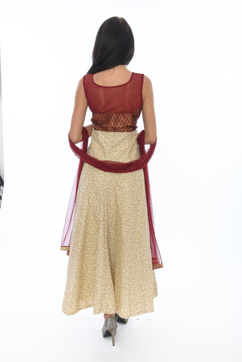 Blushing Burgundy Long Indo-Western Anarkali Gown