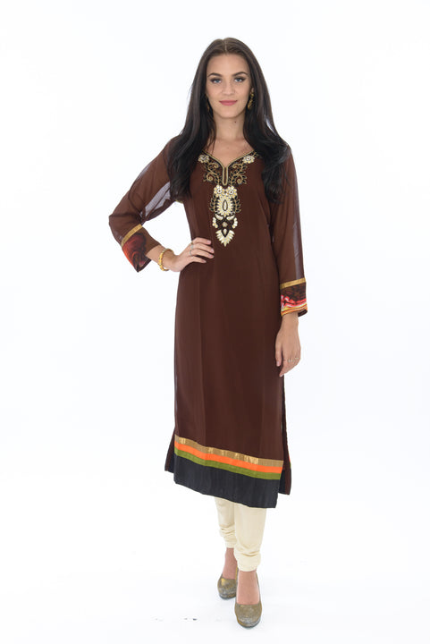 Elegant Brown Watercolor Design Kurti Salwar Kameez