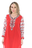 Bright Cherry Red Retro Kurti Salwar Kameez
