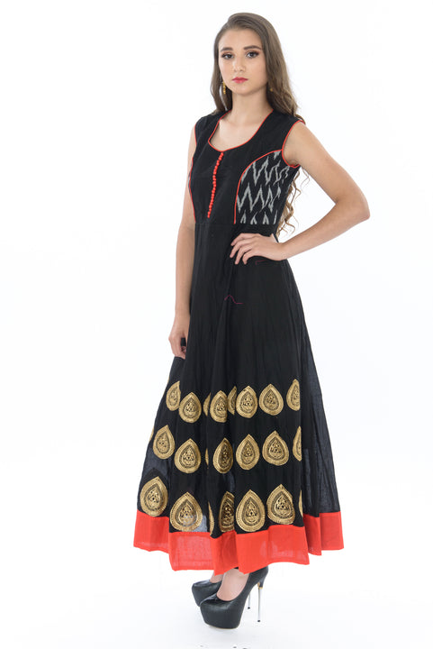 Sophisticated Crimson and Onyx Long Anarkali Gown