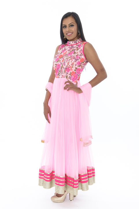 Pink Blossom Indo-Western Anarkali Gown