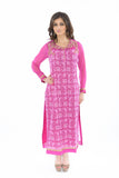 Sweet Pink and Gold Long Kurti Salwar Kameez