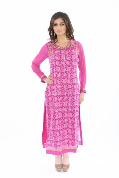 Sweet Pink and Gold Kurti Salwar Kameez