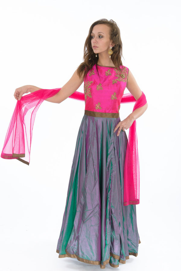Dainty Hot Pink and Purple Floor Length Anarkali Gown