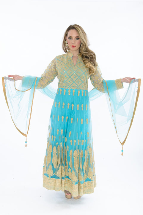 Glimmering Aquamarine Long Anarkali Gown