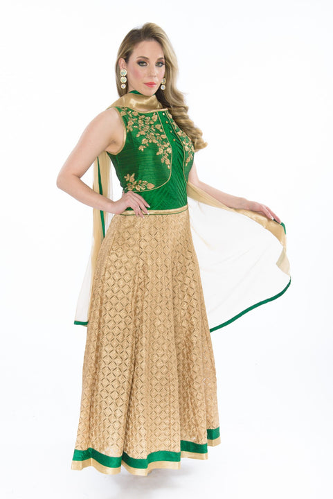 Silk & Lace Enchanting Maiden Indo-Western Anarkali Gown