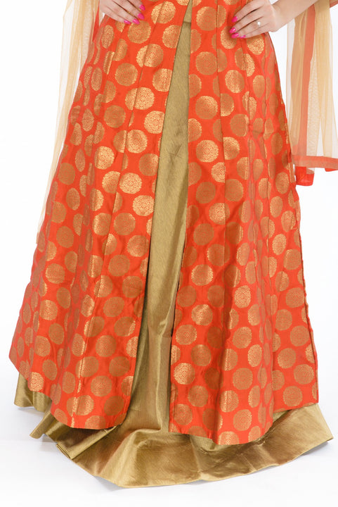 Luminous Orange and Chestnut Silk Indo-Western Gown