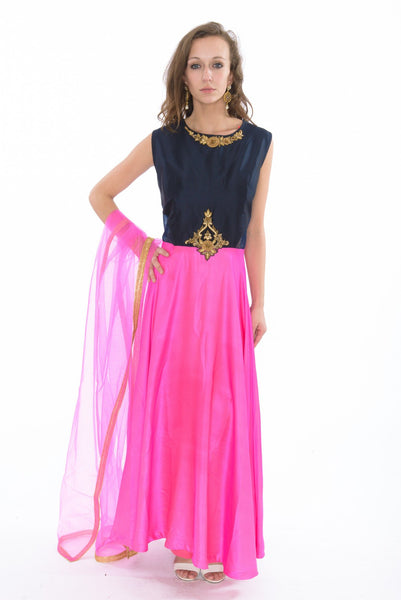 Colorblock Navy and Hot Pink  Indo-Western Long Anarkali Gown