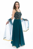 Gorgeous Cyan Silk Indo-Western Long Anarkali Gown
