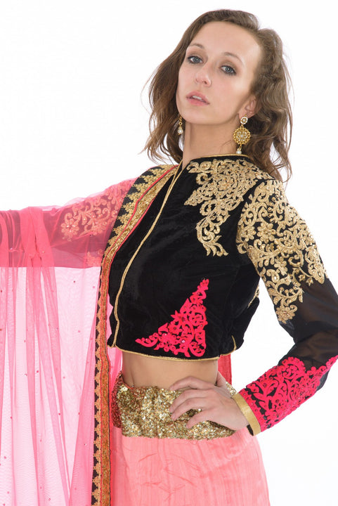 Striking Fuchsia and Black Lehenga