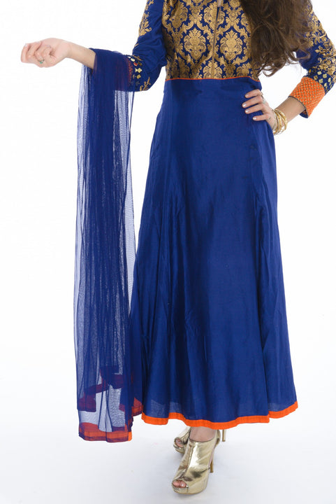 Majestic Sapphire Citrus Indo-Western Anarkali Gown