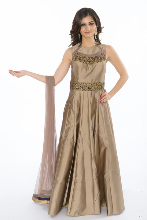 Posh Bronze Long Silk Indo-Western Anarkali Gown