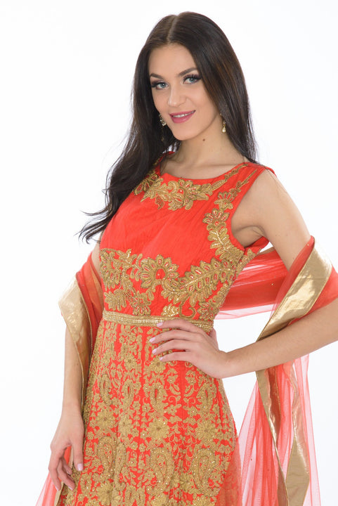 Majestic Red & Gold Embroidered Indo-Western Indian Wedding Gown