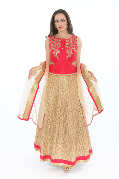 Alluring Magenta  Indo-Western Long Anarkali Gown