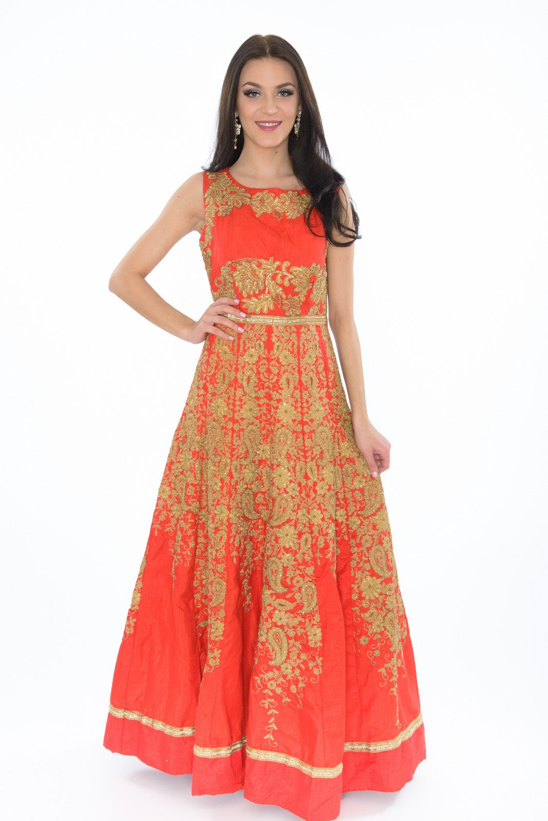Majestic Red Amp Gold Embroidered Indo Western Indian