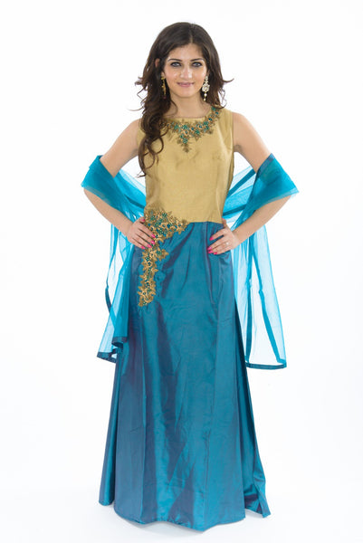 Beaming Cobalt Blue Long Indo-Western Anarkali Gown