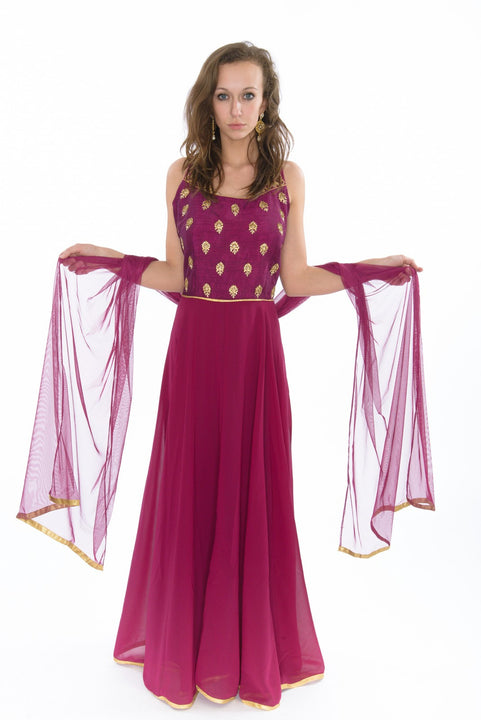 Captivating Raspberry Long Indo-Western Anarkali Gown