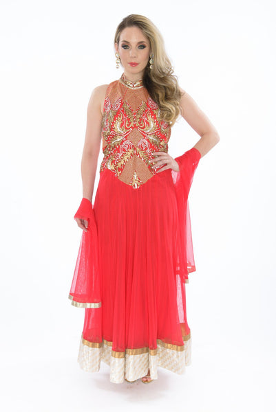 Fiery Gold and Red Sleeveless Long Anarkali Gown