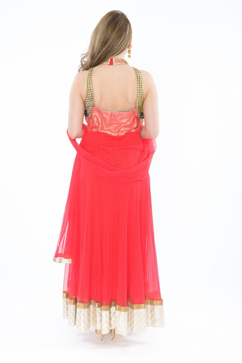 Fiery Gold and Pink Sleeveless Anarkali Gown