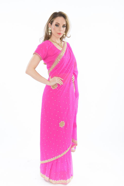 Enticing Pink with Stonework Border Pre-Stitched Ready-Made Sari